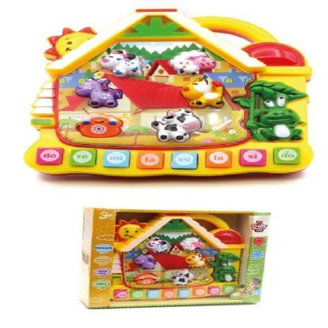Imagem de Piano teclado musical do bebe com som dos animais e da natureza casinha com iluminacao 3 em 1