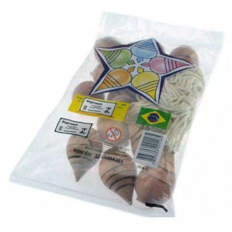 Imagem de Pião de Madeira e Fieira Com 12 Peças