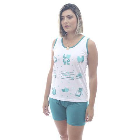 Imagem de Pijama Rei Malhas Adulto Regata Short Ciclista Verde Bandeira