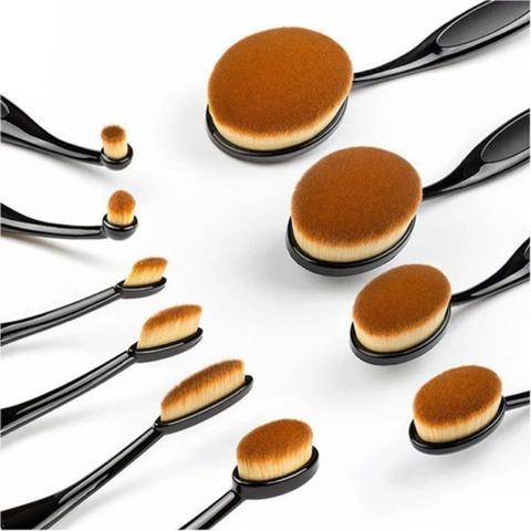 Imagem de Pincel Maquiagem Oval Kit 10 Peças Escova Flexivel Profissional Contorno Base Liquidos Creme Corretivo