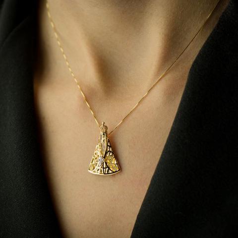 Imagem de Pingente de Ouro 18k Nossa Senhora Aparecida com Diamantes pi16266 d2aea07e0f