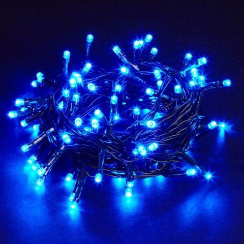 Imagem de Pisca Pisca Natal Led 100 Lâmpadas Azul 8 funções 220v Fio  Transparente