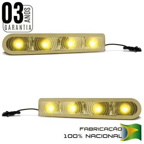 Imagem de Pisca Retrovisor Com 4 LEDs Slim Seta Tuning  Universal Luz Amarela