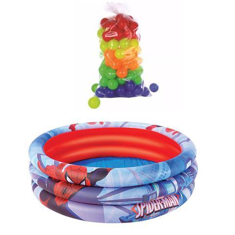 Imagem de Piscina de Bolinhas inflável Infantil Bebê 200 Litros Homem Aranha 100 bolinhas