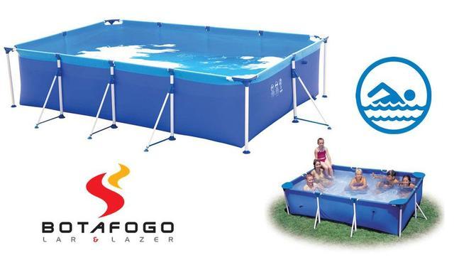 Imagem de Piscina Infantil Armação Retangular Estruturada 2000 Litros Verão Lona Azul