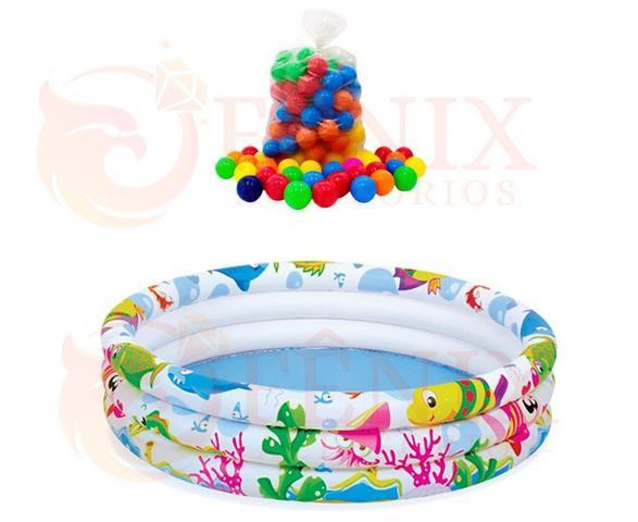 Imagem de Piscina Infantil Inflável Com Bolinhas 100 Litros + 50 Bolinhas Coloridas