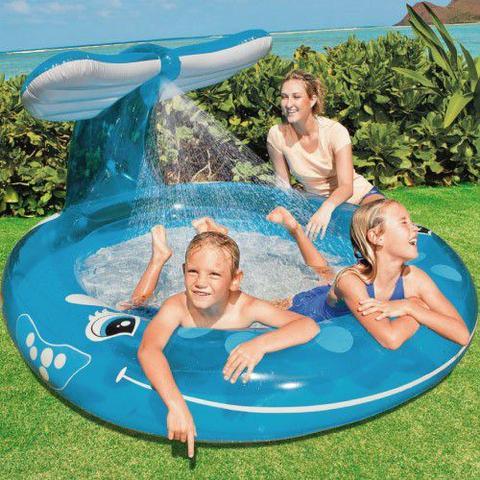 Imagem de Piscina Inflável Infantil Spray Baleia 208 Litros - Intex
