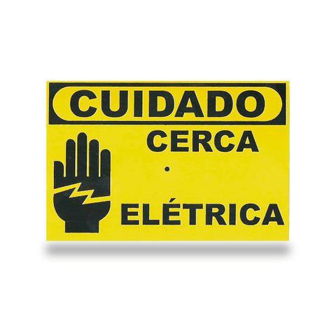 Imagem de Placa de Advertência Cuidado Cerca Elétrica