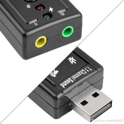 Imagem de Placa De Som Adaptador Áudio Usb 7.1 Para Pc Ou Notebook - Entrada P2 Para Fone E Microfone