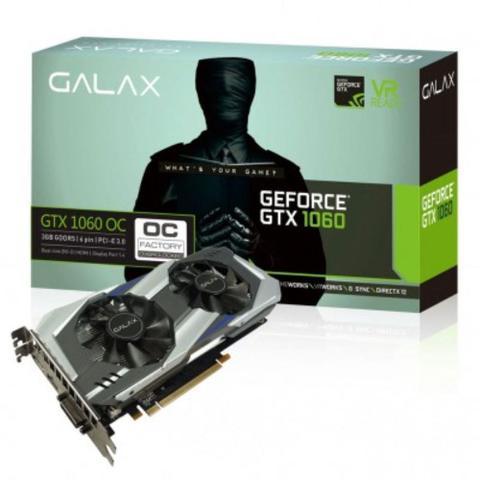 Imagem de Placa de Vídeo Galax Geforce GTX 1060, OC 3GB, DDR5, 192Bits