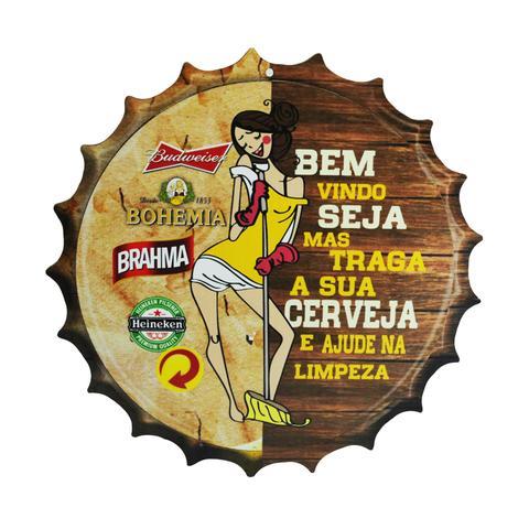 Imagem de Placa Decorativa Modelo Tampa Cerveja Frase Bem Vindo 29x29 Mdf6mm Madeira