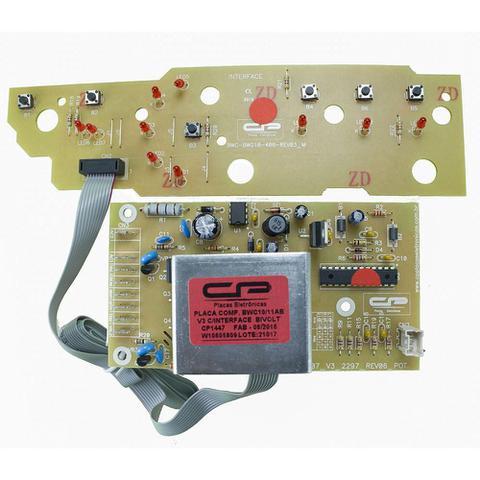 Imagem de Placa eletronica potencia e interface lavadora brastemp compativel bwc10ab v3 bwc11ab 127v 220v cp p