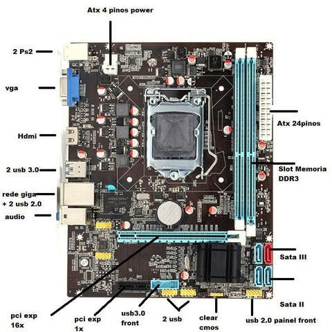 Imagem de Placa Mãe H61 Ddr3 Lga1155- I3-i5-i7 - 2 E 3 Ger