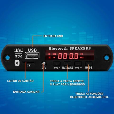 Imagem de Placa para Amplificador Módulo BT-373 80W RMS Bluetooth USB Cartão de Memória SD Auxiliar P2 MP3