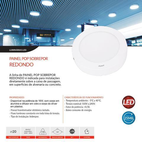 Imagem de Plafon 18w Redondo Painel Led Sobrepor Branco Frio Bivolt