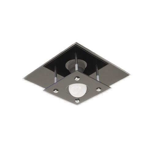Imagem de Plafon Quadrado Vidro Duplo Preto Living 26x26 cm para 1 Lâmpada HTPLAF1PT