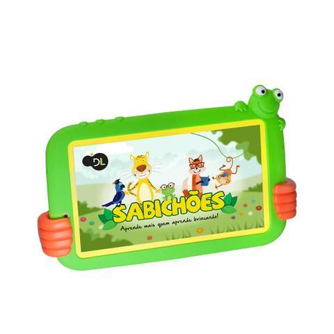Imagem de Plataforma de Ensino Infantil Sabichões conteúdo pedagogo, capa de sapo verde e suporte de mãozinha