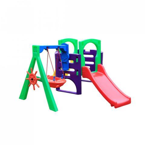 Imagem de Playground Infantil Plástico com Balanço e Escorregador Miniplay FLY Freso Colorido