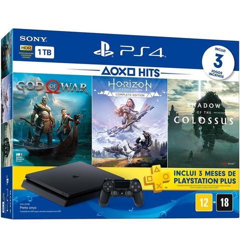 Imagem de Playstation 4 Slim 1TB + 3 Jogos (God of War / Shadow Of The Colossus / Horizon Zero Down)