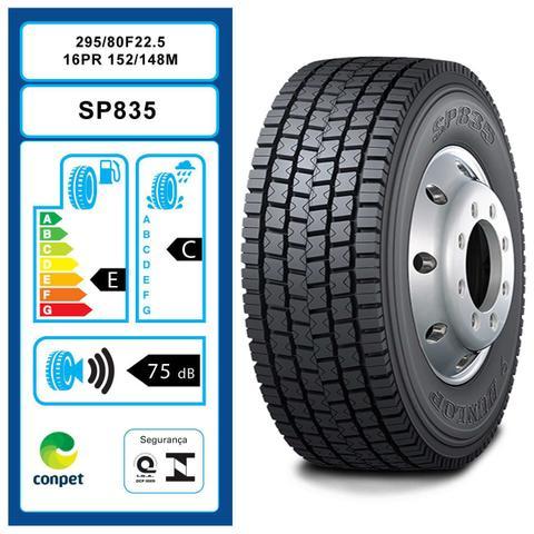 Imagem de Pneu Dunlop Aro 22.5 295/80R22.5 152/148M SP 835 para Caminhão e Ônibus