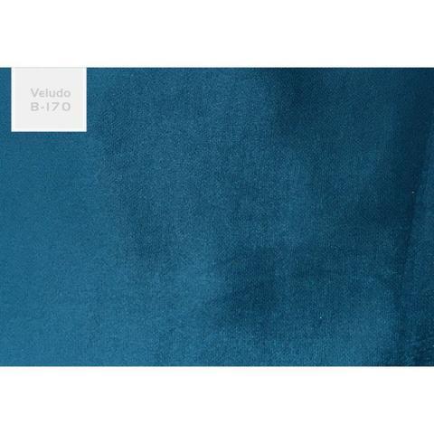 Imagem de Poltrona Decorativa Aída 1 Lugar Base Madeira B170 Azul - Domi