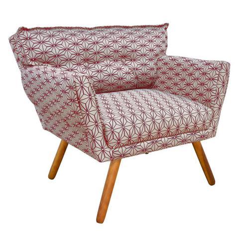 Imagem de Poltrona Decorativa Anitta Estampado Jacquard Geométrico Bege e Vermelho A33 - DRossi