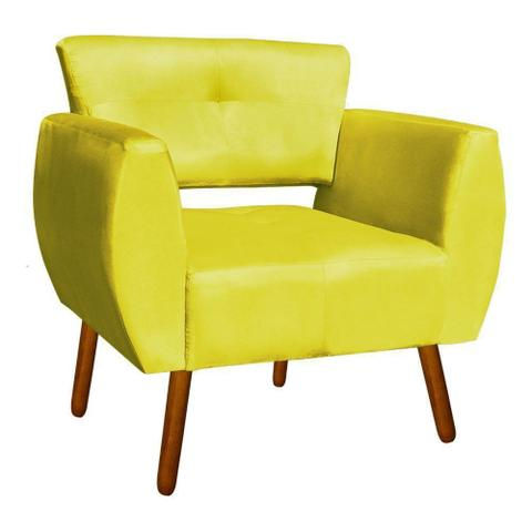 Imagem de Poltrona Decorativa Josy Suede Amarelo Pés Palito - D'Rossi