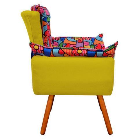 Imagem de Poltrona Decorativa Opala Suede Composê Estampado Romero Britto D15 e Suede Amarelo - DRossi