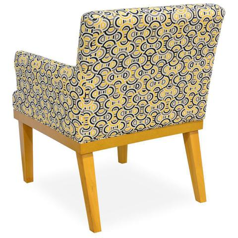Imagem de Poltrona Decorativa Para Sala de Estar Beatriz Estampado Amarelo - Lyam Decor