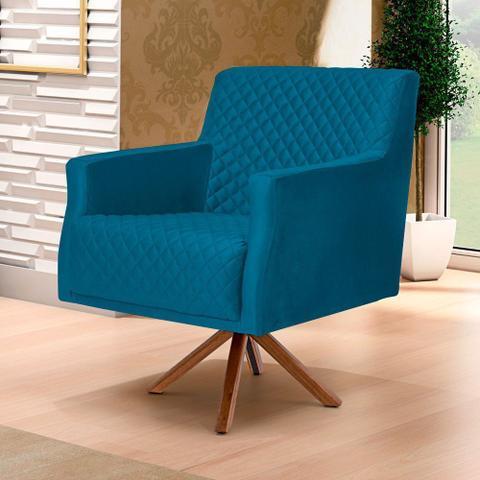 Imagem de Poltrona Decorativa Para Sala de Estar Diva Tressê Veludo Liso B-170 - Lyam Decor