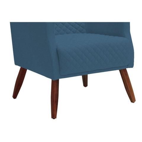Imagem de Poltrona Decorativa Pés Madeira Charlote B170 Azul - Domi