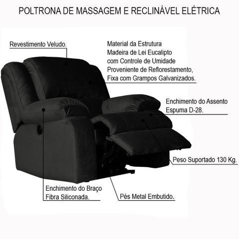 Imagem de Poltrona do Papai Reclinável Elétrica com Massagem Magnum Veludo Marrom - Gran Belo