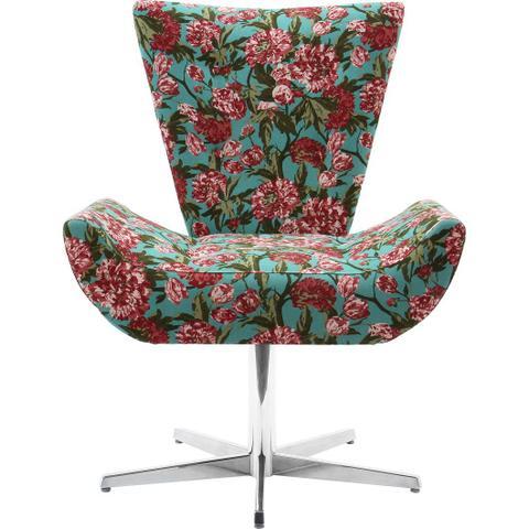 Imagem de Poltrona emilia floral garden base giratoria aluminio cromado