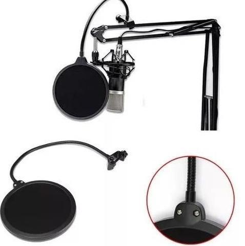 Imagem de Pop Filter Tela Anti Sopro Para Microfone Com Haste Flexivel