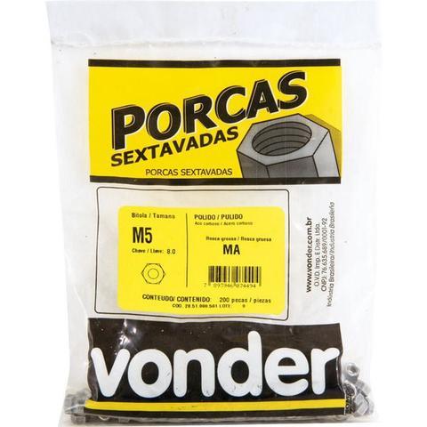 Imagem de Porca sextavado M 5 ma polido pacote com 200 - Vonder