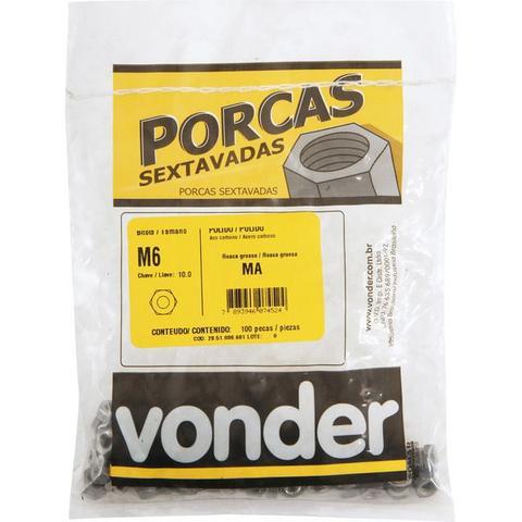 Imagem de Porca sextavado M 6 ma polido pacote com 100 - Vonder