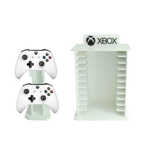 Imagem de Porta 11 Jogos FÍSico + Controle Xbox 360 Gamer Laser Mdf Madeira Pintado