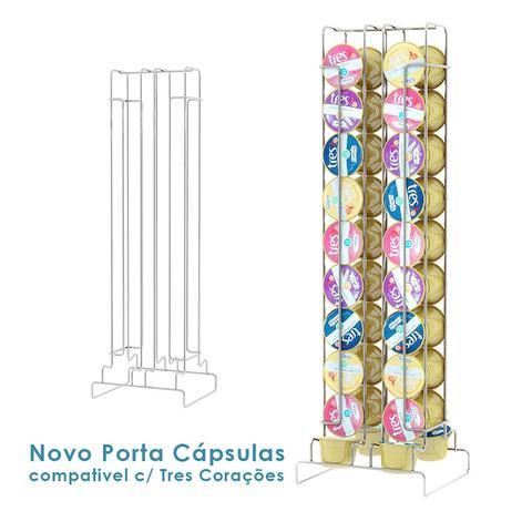 Imagem de Porta Cápsulas Três Corações 40 Uni em Aço Cromado - 221 - Duler