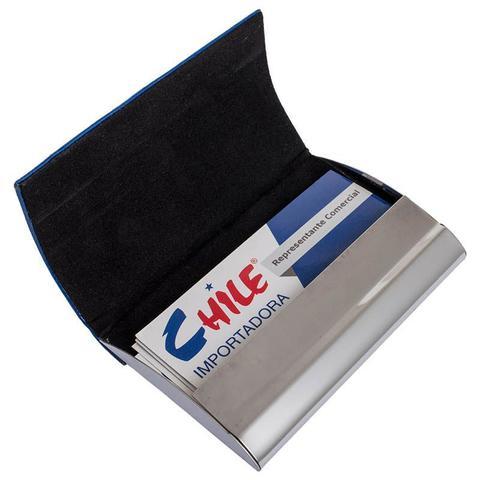 Imagem de Porta Cartão Metálico Com Detalhe Tipo Couro