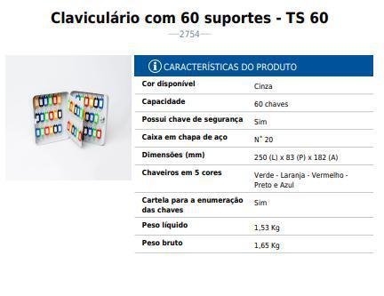 Imagem de Porta Chaves Claviculários TS 60 Menno