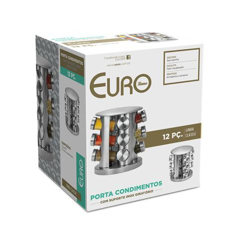 Imagem de Porta Condimentos 12 Peças com Suporte Giratório Inox Euro Home