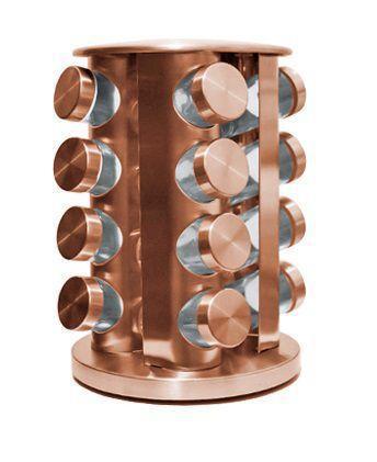 Imagem de Porta Condimentos com 16 Vidros de 80 ml + Suporte de Inox Giratório Rose Gold