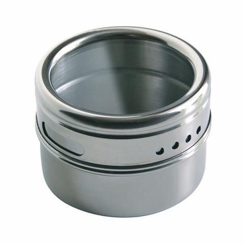 Imagem de Porta Condimentos E Temperos 6 Potes Magnéticos Em Aço Inox E 1 Suporte Triangular