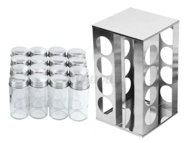 Imagem de Porta Condimentos Temperos Giratório 16 peças em Vidro e Inox