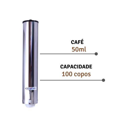 Imagem de Porta Copo Descartavel Suporte Inox 50ml Cafe Dispenser