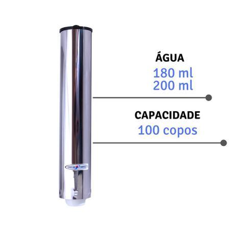 Imagem de Porta Copo Descartavel Suporte Inox Dispenser Agua 200ml