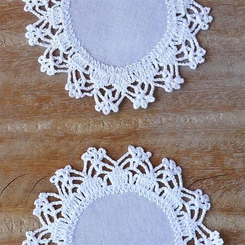 Imagem de Porta Copo em Crochê Kit 6 Peças - Branco