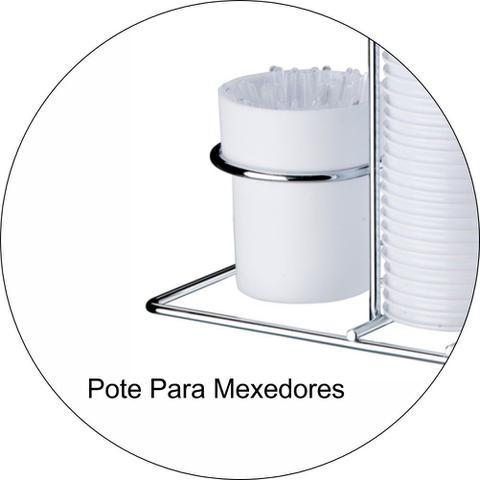Imagem de Porta Copos Descartáveis 80ml Porta Colheres Cromado - Branco