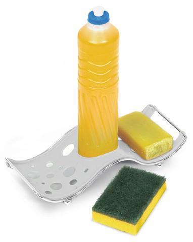 Imagem de Porta Detergente Sabão e Esponja Niquelart 336-4 Onda Branco 5,5x25x10,5cm
