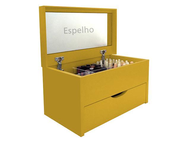 Imagem de Porta Maquiagem Caixa Organizadora com Espelho - Amarelo Laca